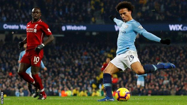 Leroy Sane scores for Manchester City against Liverpool in January 2019