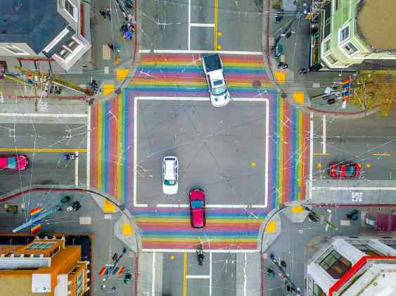 Rainbow crosswalk in Castro District in San Francisco in California USA