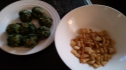 chex mix and spinach balls!