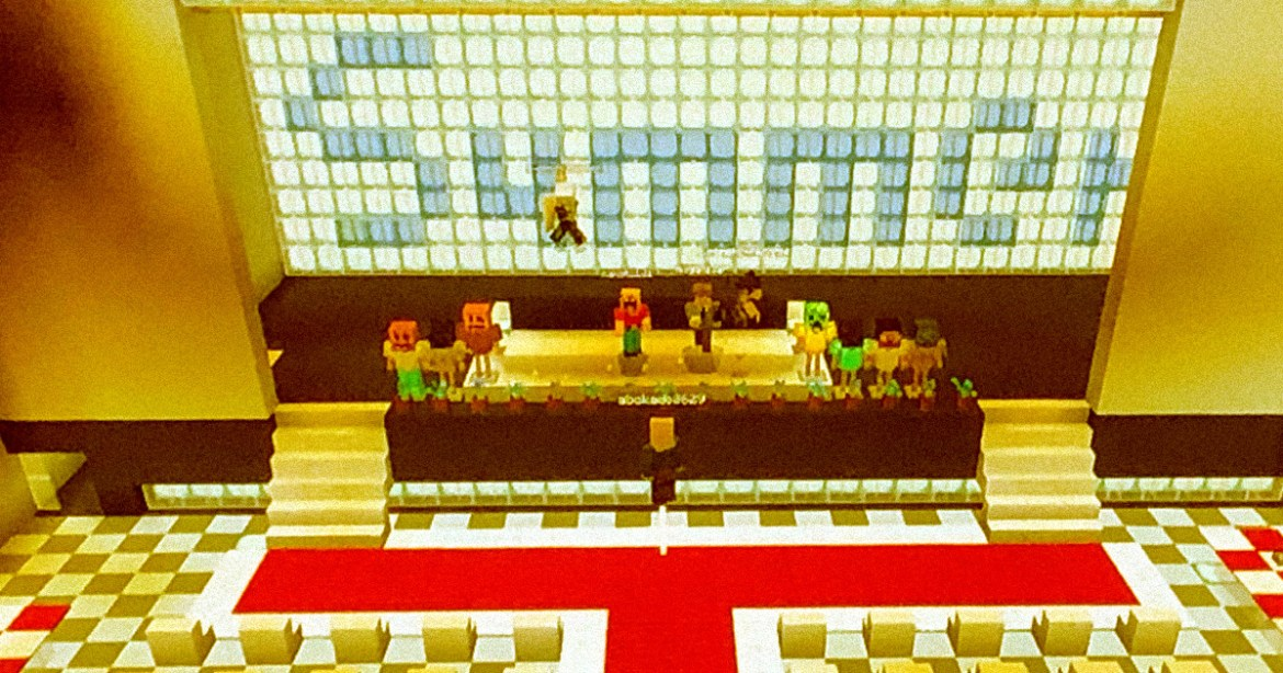 Schoolkids Holding a Graduation In Minecraft during pandemic