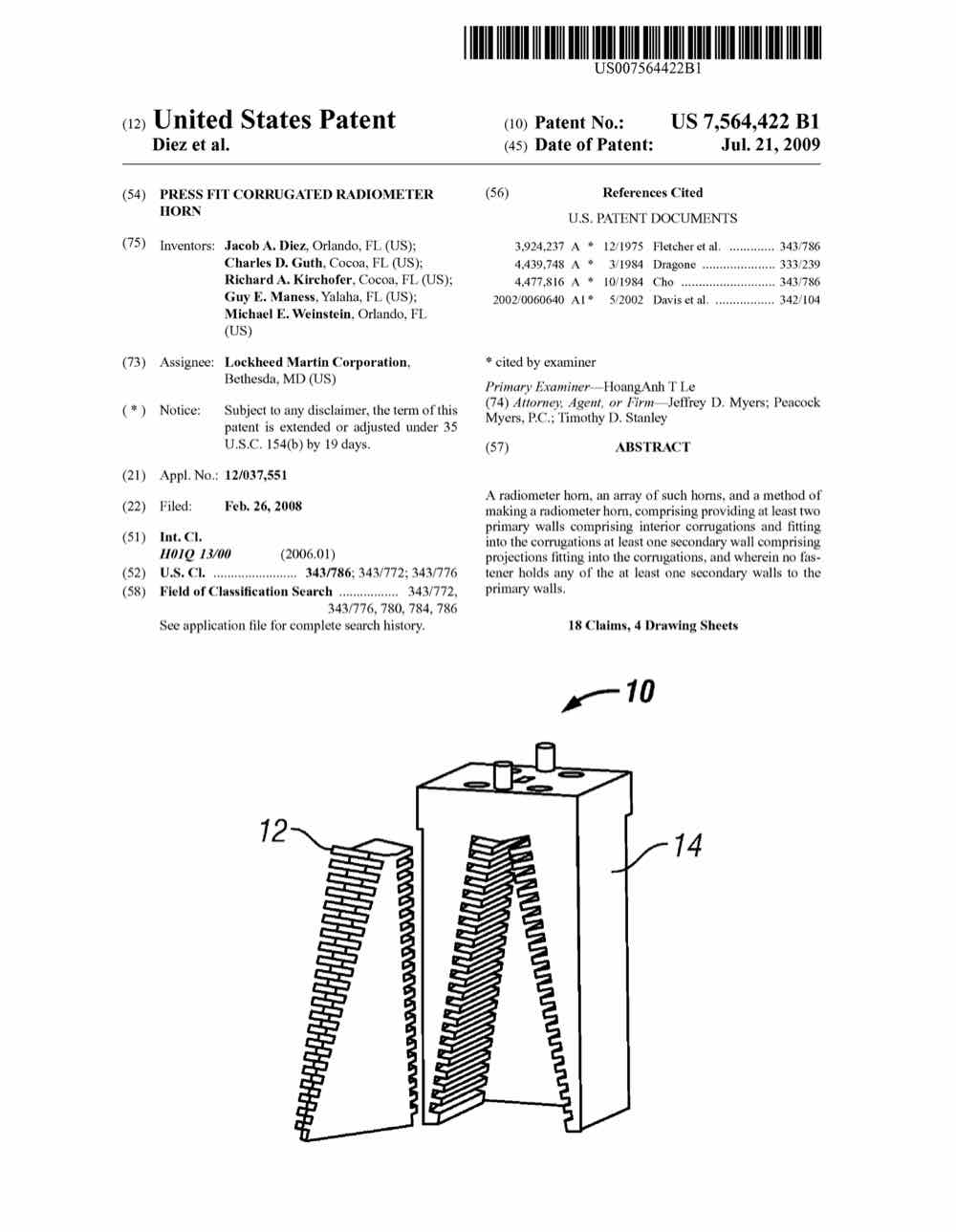 medium resolution of press fit corrugated radiometer horn 7564422