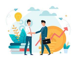 ilustracao-de-vendedor-e-comprador-dando-as-maos-representando-a-importancia-da-dre-na-venda-de-empresas