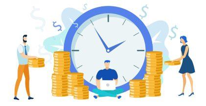 ilustracao-de-relogio-pessoas-e-dinheiro-para-demonstrar-os-sinais-de-que-chegou-a-hora-de-vender-sua-empresa