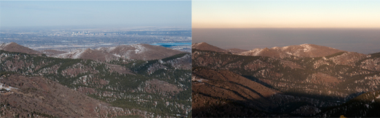The brown cloud covering highly populated parts of the Front Range is the visible part of air pollution, but unseen ozone is most dangerous to health. In the first photo, a clear view from the mountains looking east to the Denver Metro area. The second shot is the same view, obstructed by the brown cloud. Photos by Robert D. Tonsing/Colorado Public News.