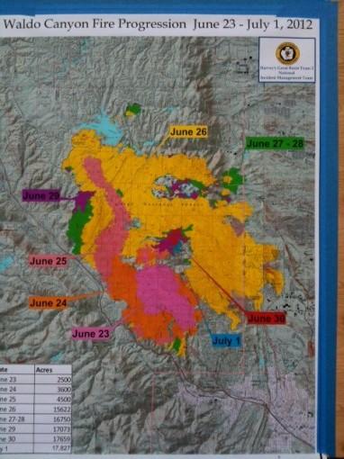 Waldo Canyon Fire Progression Map June 23rd-July 1st.