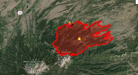 East Peak Fire map image, Sat 6/29/13, 9:30 am via Inciweb