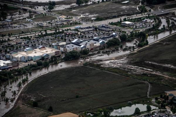 Flooded areas are seen from a U.S. Army UH-60 Black Hawk helicopter in Boulder County, Colo., Sept. 18, 2013.