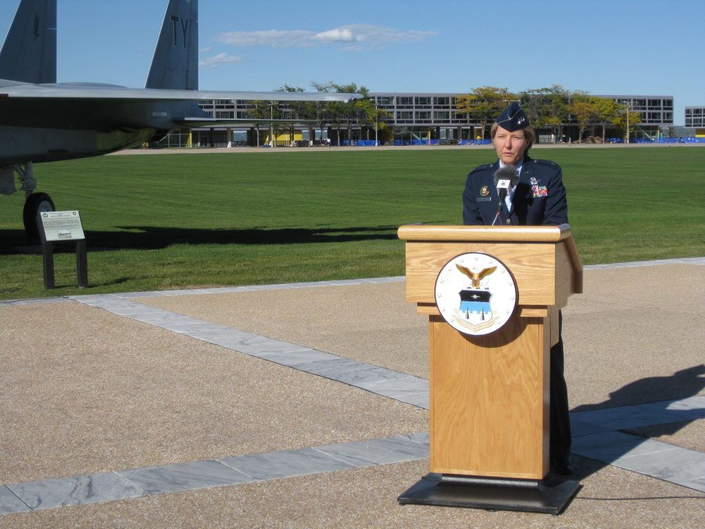 Lt. Gen. Michelle Johnson, superintendent of the US Air Force Academy, addresses the press about the government shutdown.