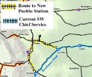 The existing Amtrak Southwest Chief Service through Colorado, and how it would reroute with a new station in Pueblo