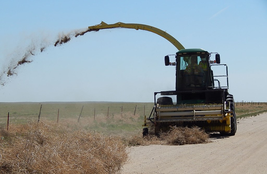The Tumbleweed Eater, a modified John Deere Harvester, pulls the tumbleweed in the front, grinds them up and spits them out into a field.