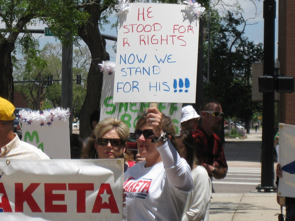 Supporters of Sheriff Maketa held a counter-rally