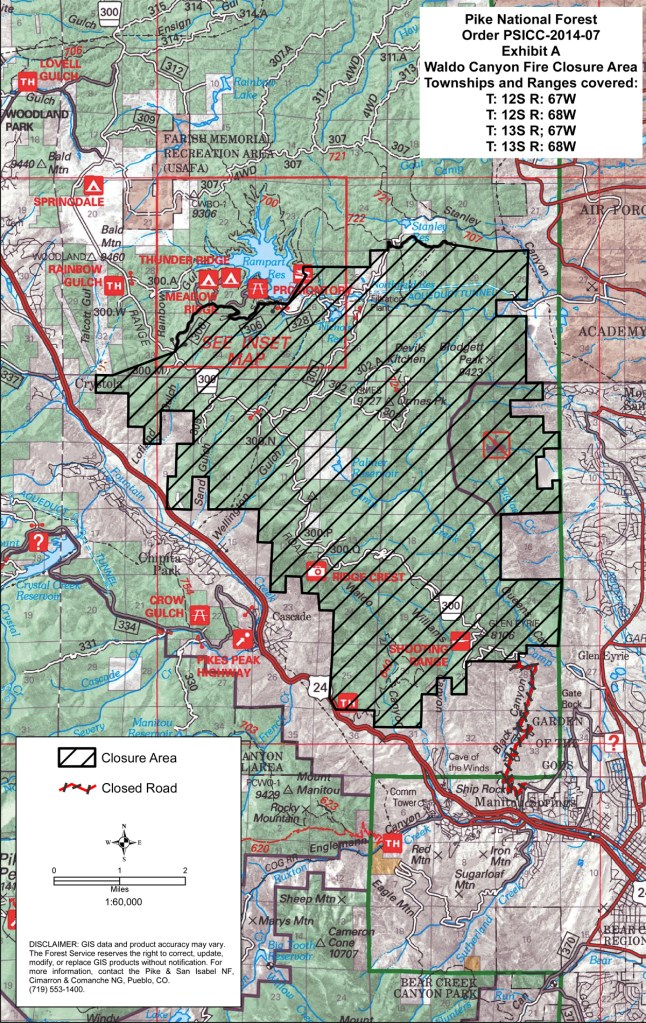Map of ongoing closures on U.S. Forest Service land due to 2012's Waldo Canyon fire.