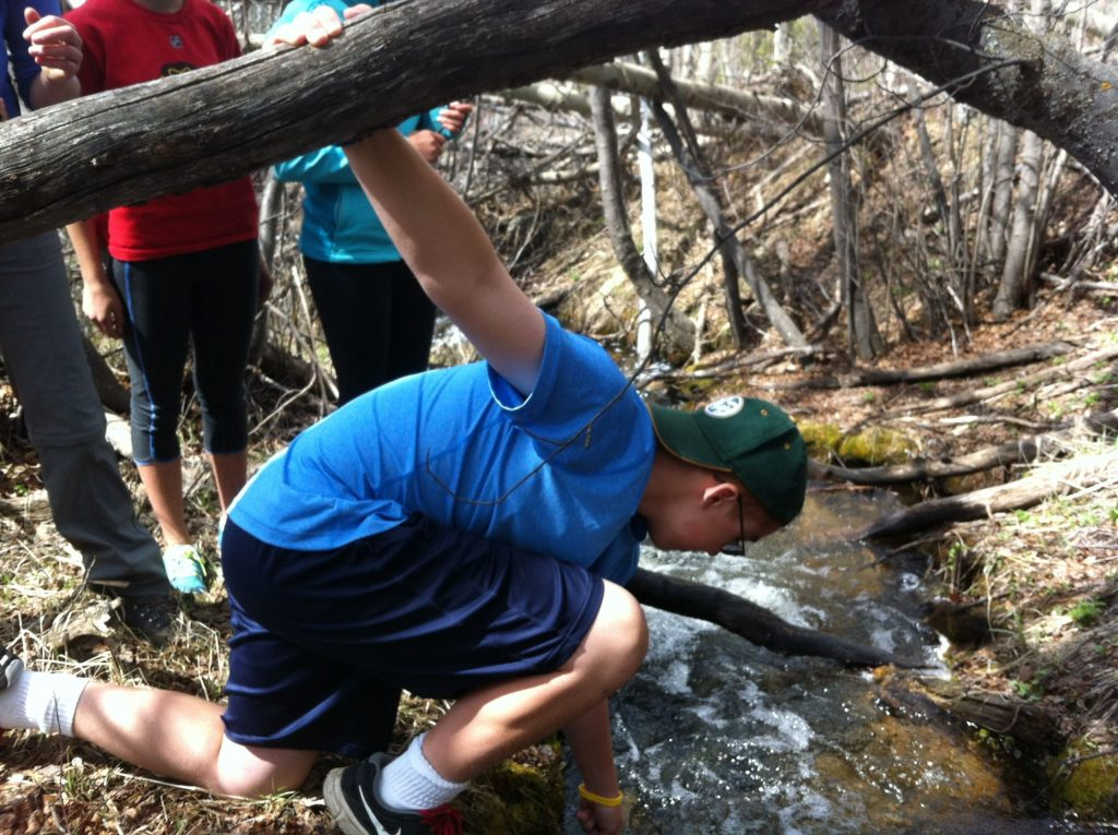 A student from St. Mary's School in Denver reaches for a rock in a stream near Breckenridge, CO. The students were looking for aquatic bugs as part of a lesson on stream health taught by the Keystone Science School.