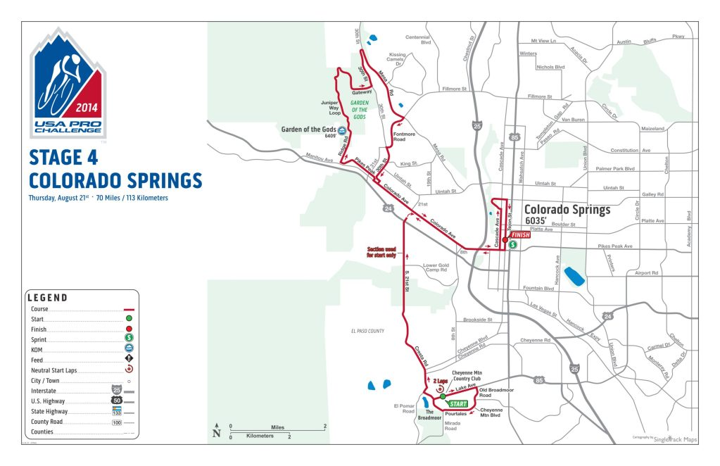 Stage 4 of 2014's USA Pro Challenge consists of a circuit race through downtown Colorado Springs and Garden of the Gods.