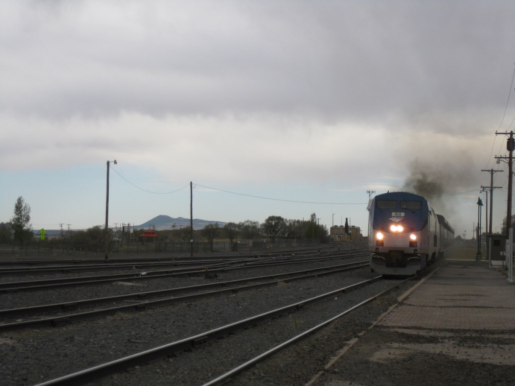 Amtrak's Southwest Chief pulls into the Raton, NM station in May.