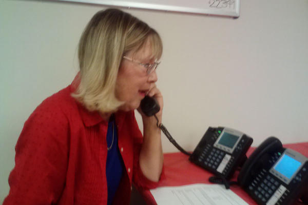 Kathy Holderith making calls at a GOP field office in Lakewood, Colo. Jefferson County is considered a key swing area in the close U.S. Senate race.