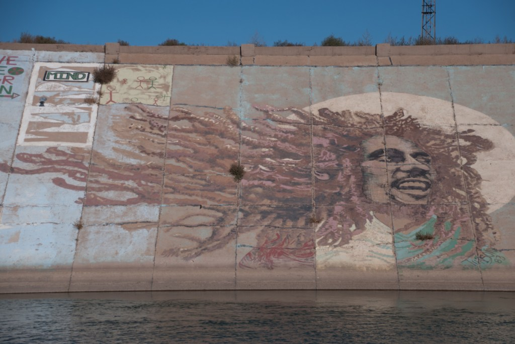 Photo of the same Bob Marley mural, taken Fall 2014, shows fading paint and plant growth through the concrete that makes up the levee.