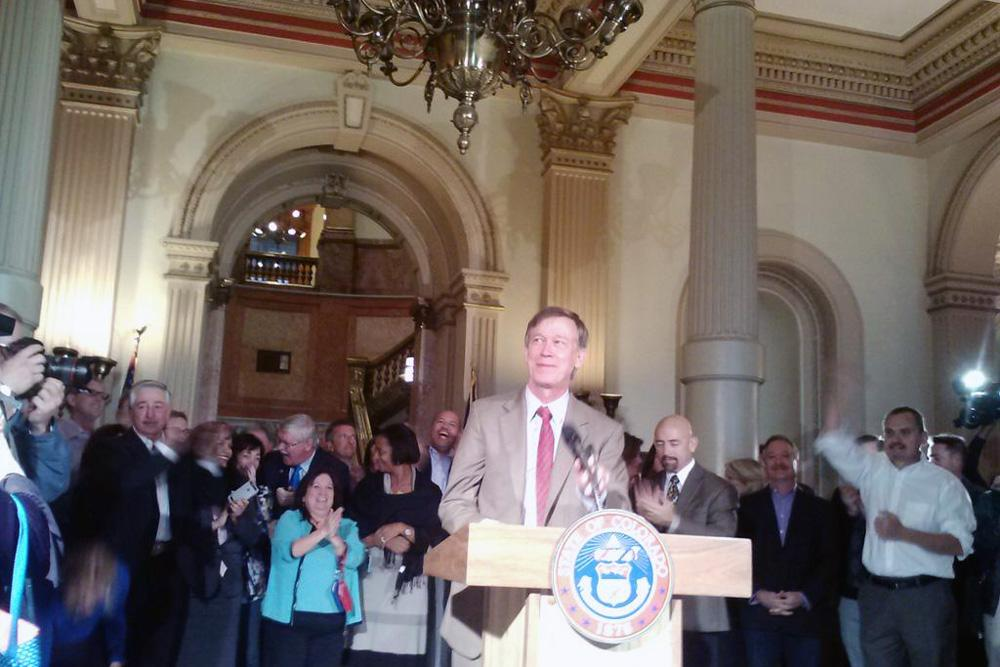Hickenlooper declares victory, narrowly, at the state capitol on the day after Election Day.