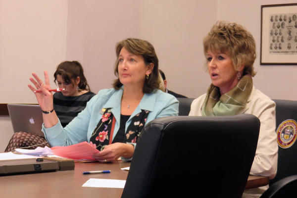 Senator Ellen Roberts (R-Durango) and Margery Grandbouche with Hilltop Community Resources, which operates the Get Real Teen Pregnancy Prevention Program testify in support of a bill to expand the program statewide.