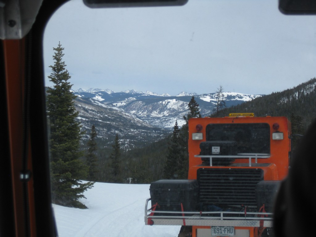 Snow cats or snowmobiles are required to reach the Homestake Reservoir