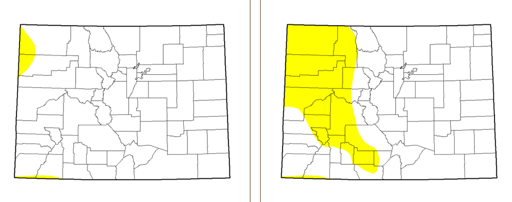 A side by side comparison of this week's drought monitor and last week's.