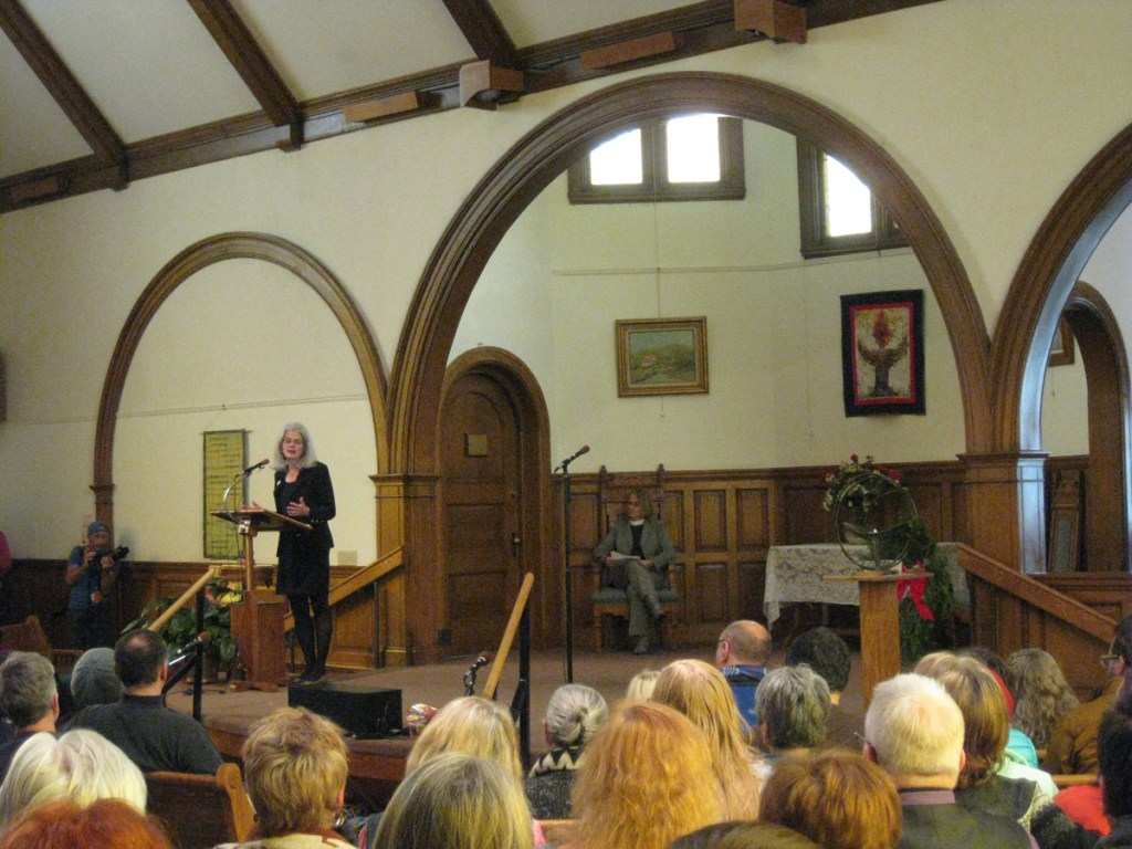 Vicki Cowart, President and CEO of Planned Parenthood Rocky Mountains, addresses those assembled at Saturday morning's vigil at the All Souls Unitarian Universalist Church.