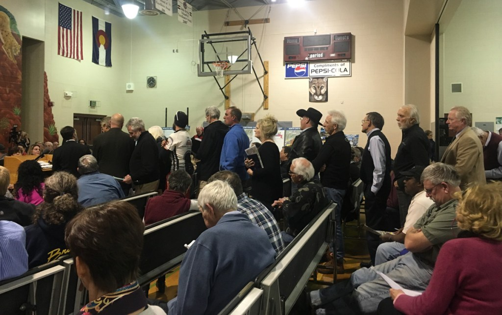 People lined up to voice their opinions at Wednesday night's meeting.