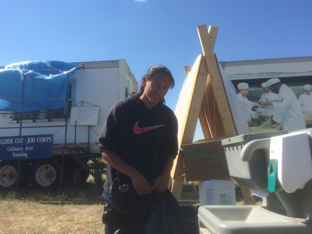 Deavontay Small Bear of Mission, South Dakota is among the Job Corps students working to support the Hayden Pass Fire base camp.