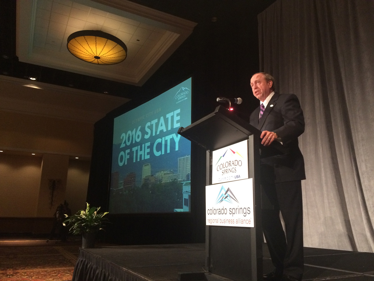 Colorado Springs Mayor John Suthers delivers the 2016 'State of the City' address