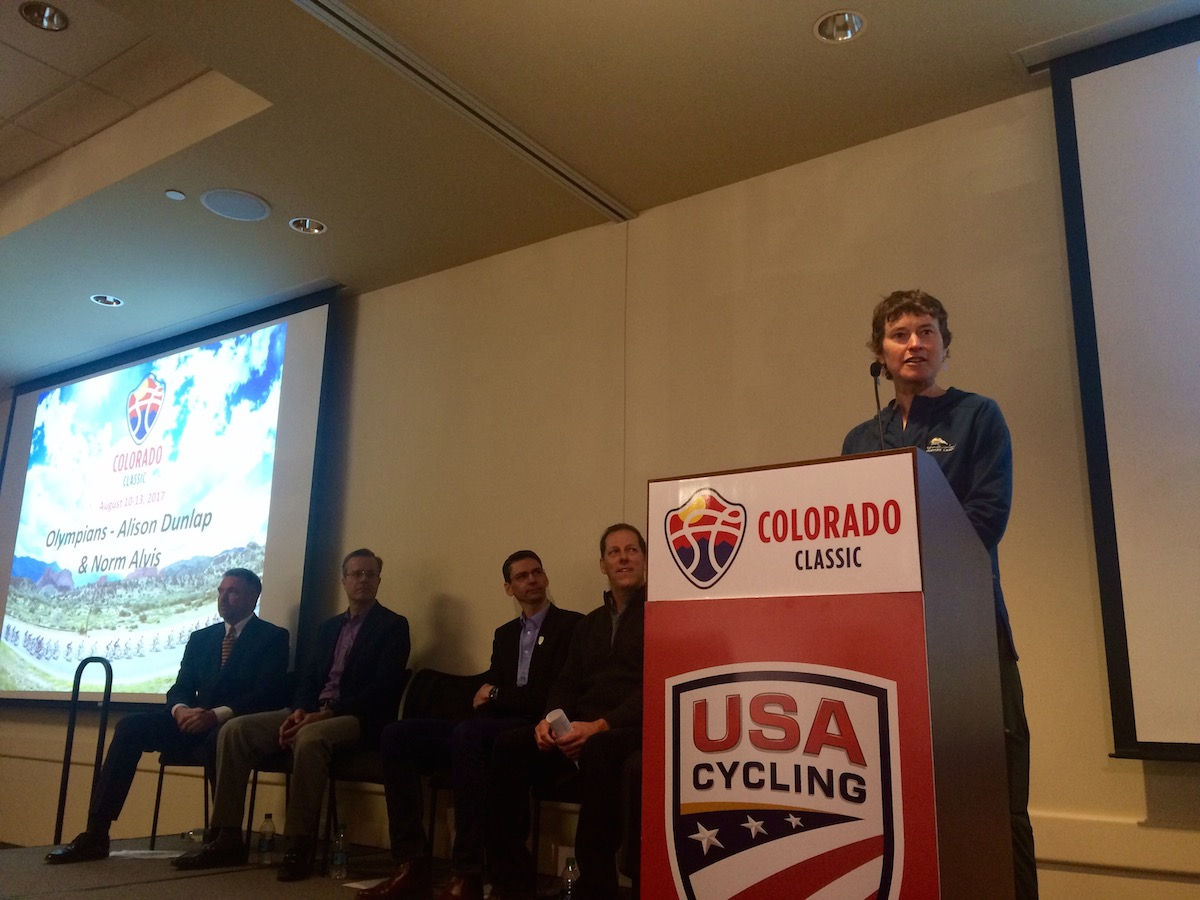 Retired olympian Alison Dunlap spoke at the press conference for the new race.