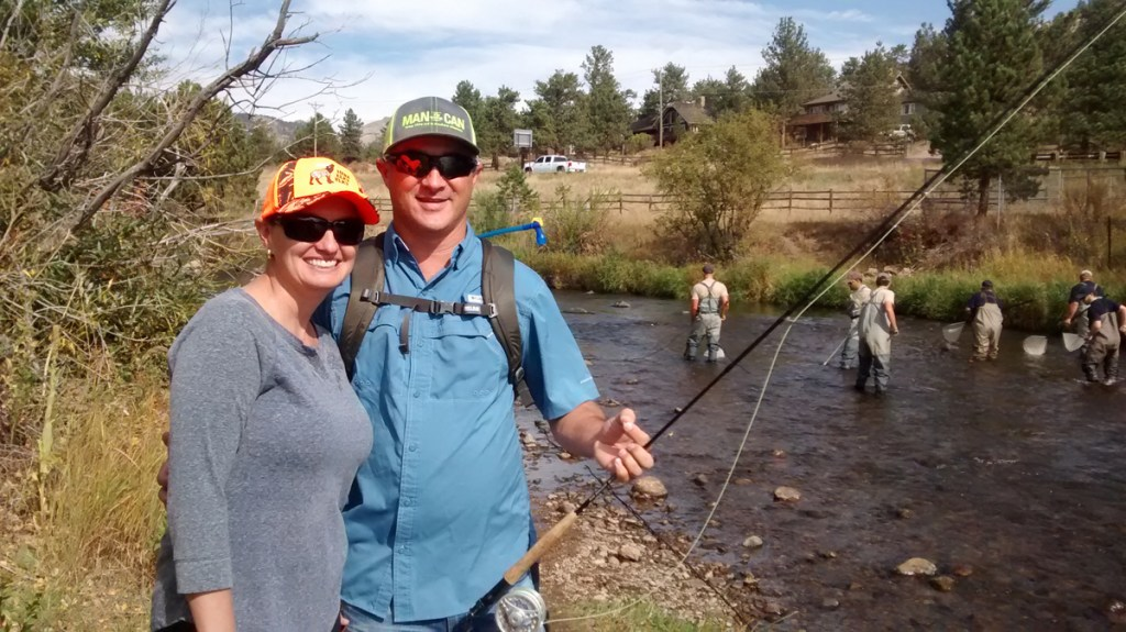 Jeff and Elizabeth Anderson from Austin, TX are among the estimated 50,000 anglers that come to this area on the Big Thompson annually.