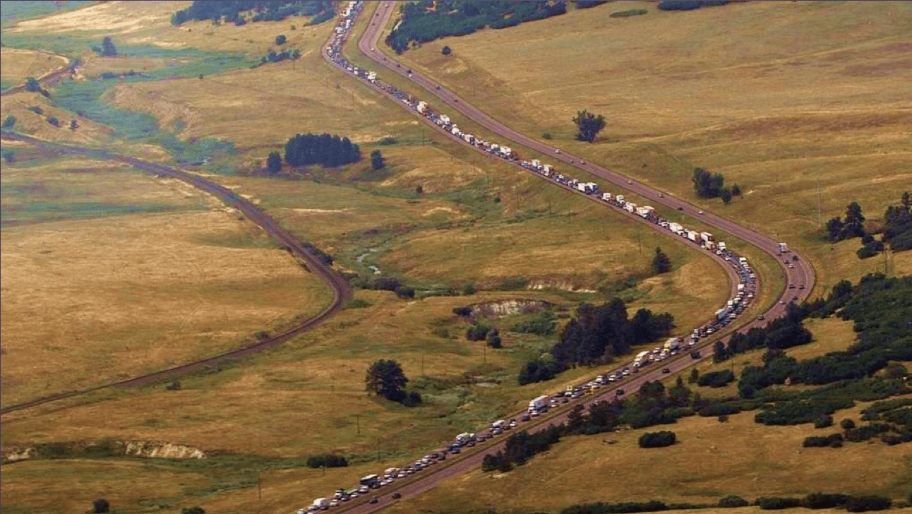 For 17 miles between Monument and Castle Rock, I-25 narrows to four lanes, two in each direction.