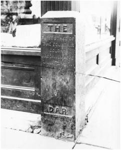 "Marker reads: ""The first stake of the Fountain Colony was driven here July 31 1871 / D.A.R. July 4 1895."" Marker is located at the southeast corner of East Pikes Peak Avenue and Cascade Avenue."