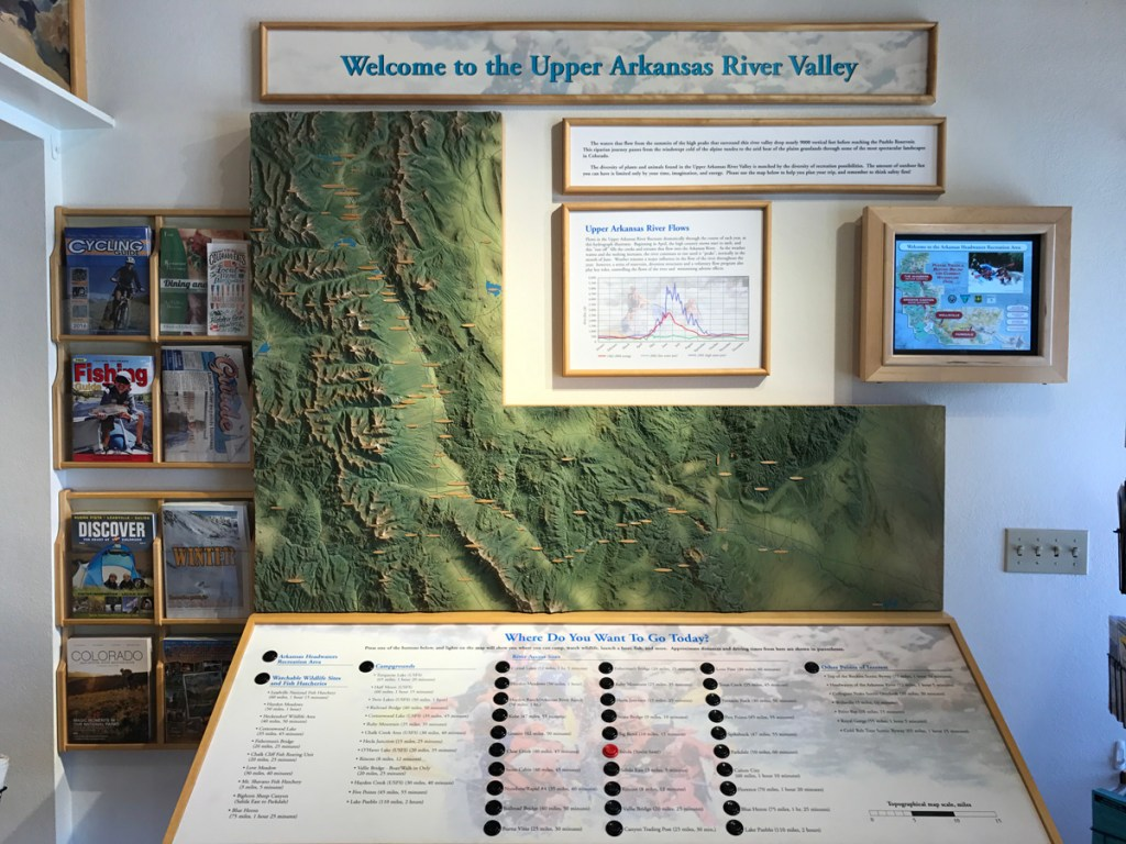 """""""Where Do You Want to Go Today?"""" In Salida, this display at the office of the Arkansas River Headwaters Recreation Area offers locations for camping, wildlife and hatchery viewings, and more."""