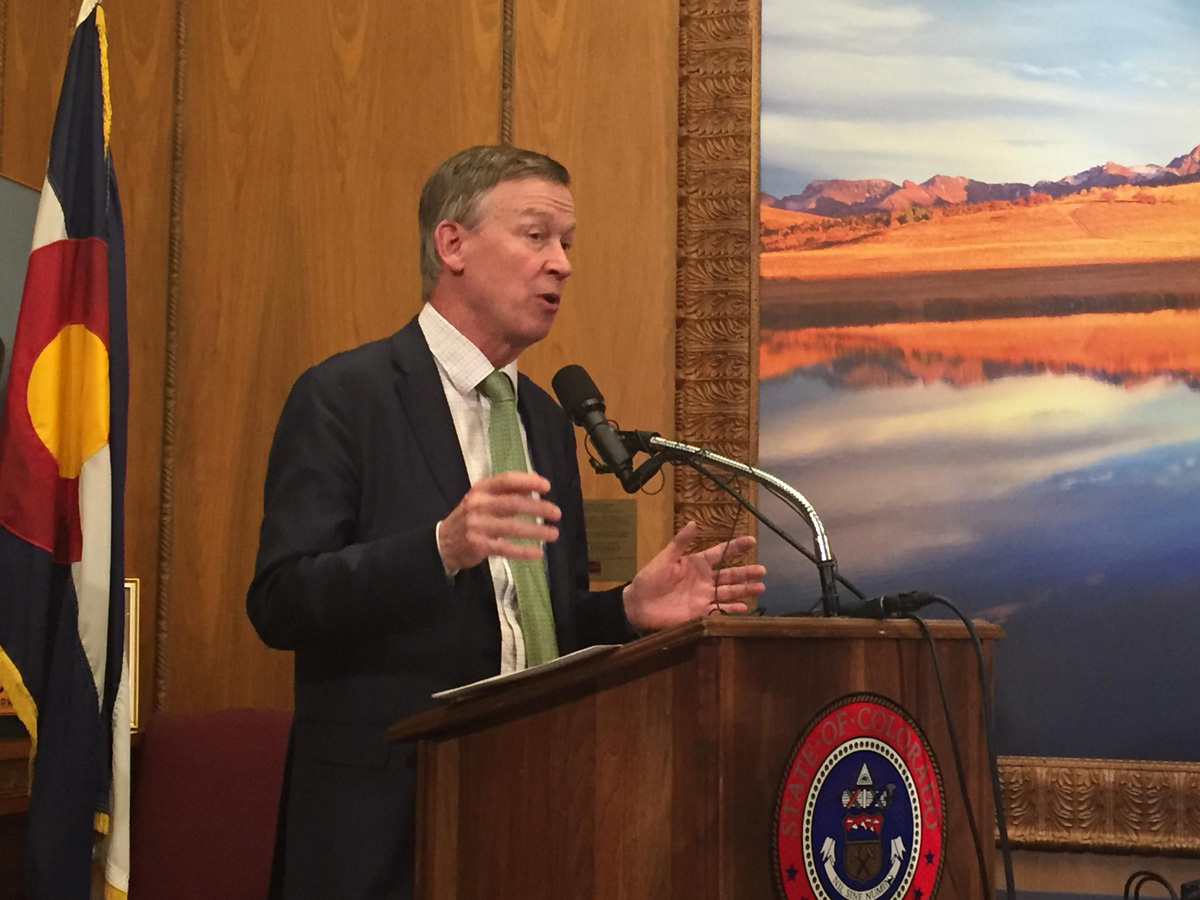 """Gov. Hickenlooper told reporters, """"It is my belief that this is a unique event, but I'm not going to relax and just make that assumption."""""""