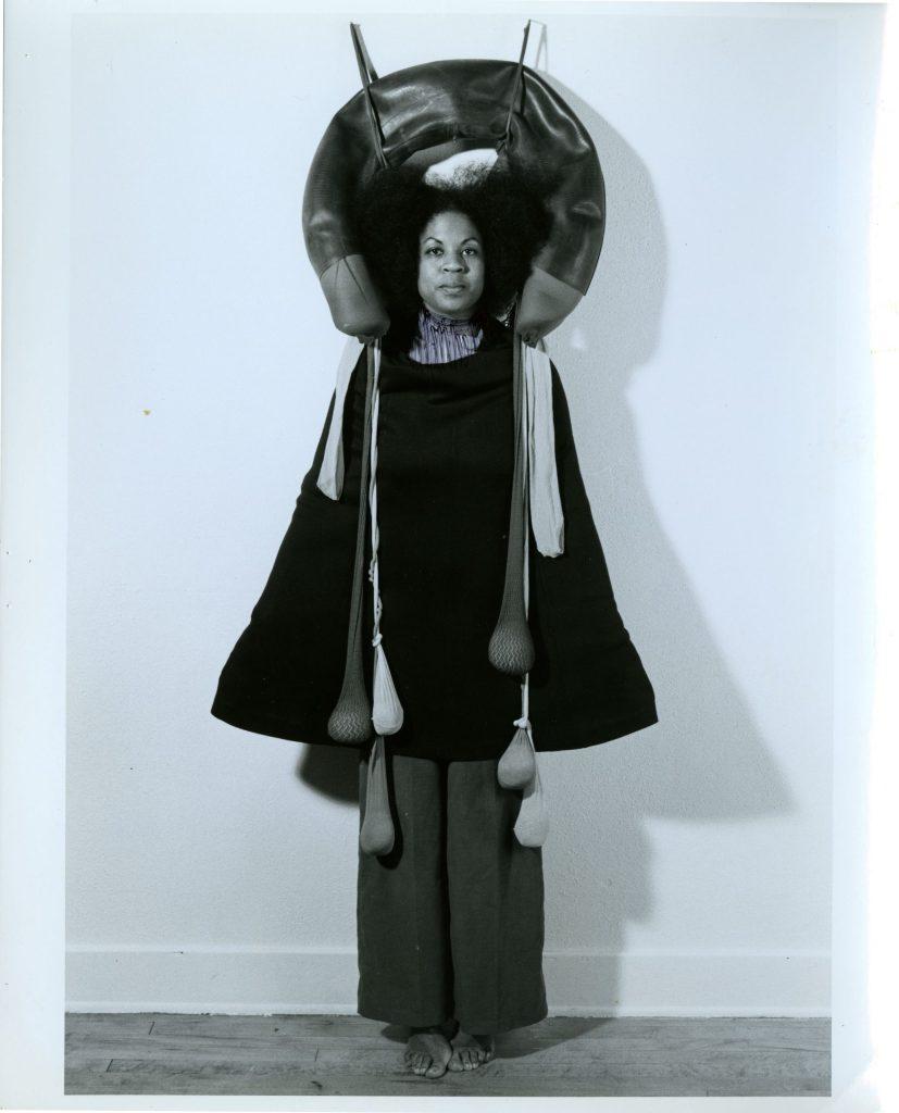 Senga Nengudi, studio performance activating Inside Out, 1977.