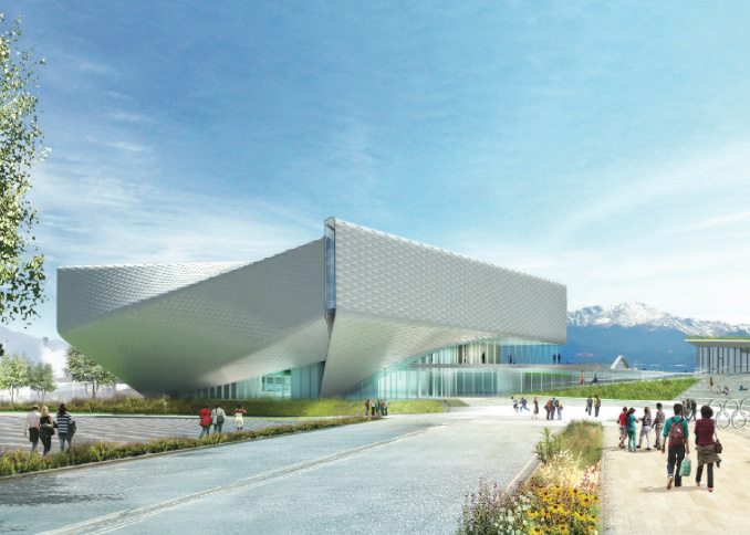 This design rendering of the planned US Olympic Museum from the view of Vermijo Ave.