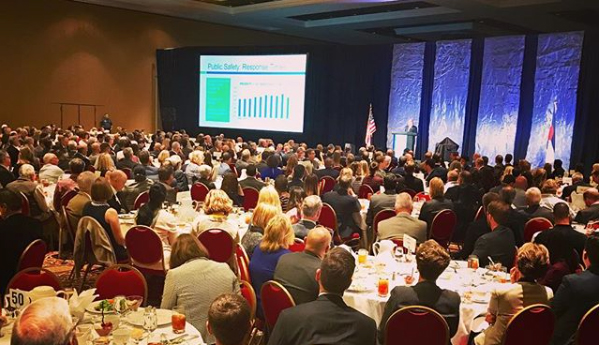 Colorado Springs Mayor John Suthers delivers his third State of the City address to a crowd of around 700