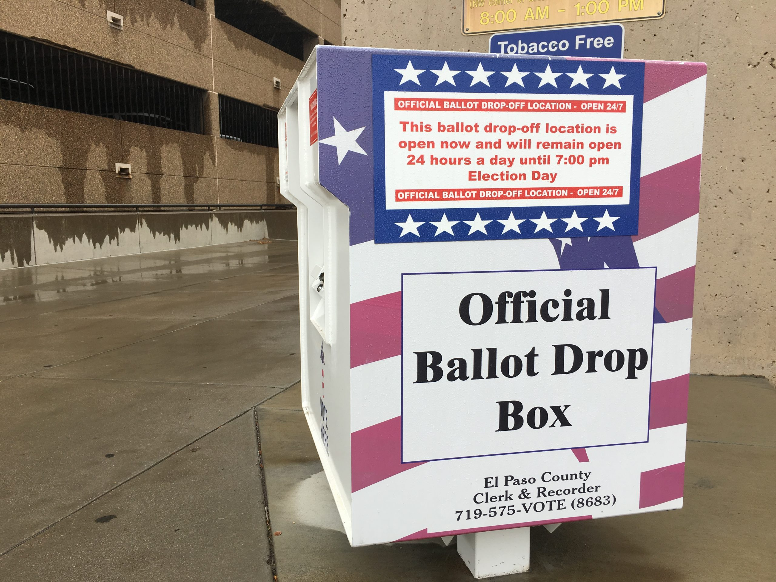 A ballot drop box outside of the El Paso County Clerk and Recorder's office in downtown Colorado Springs.