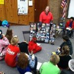 At the Lewis Palmer Elementary School talking with students about animal rescue and disaster response.