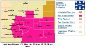 This screen shot from the National Weather Service indicates where a Red Flag Warning is in effect Friday.