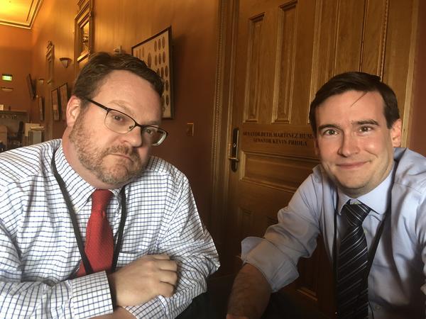 Ed Sealover of the Denver Business Journal and Brian Eason of the Denver Post.