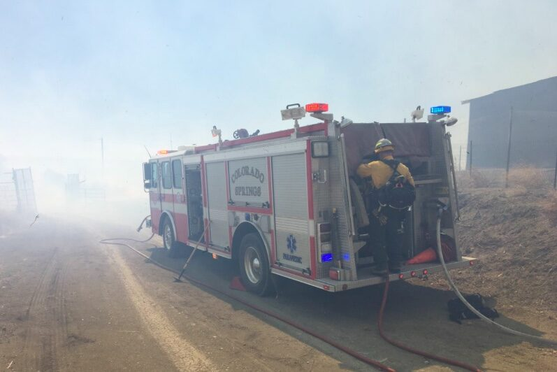 The Colorado Springs Fire Department is among the agencies assisting in fighting a fire in southern El Paso County