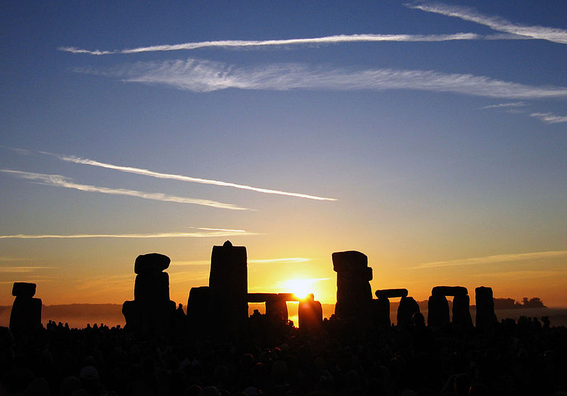 The Sun rising over Stonehenge on the morning of the Summer Solstice (21st June 2005).