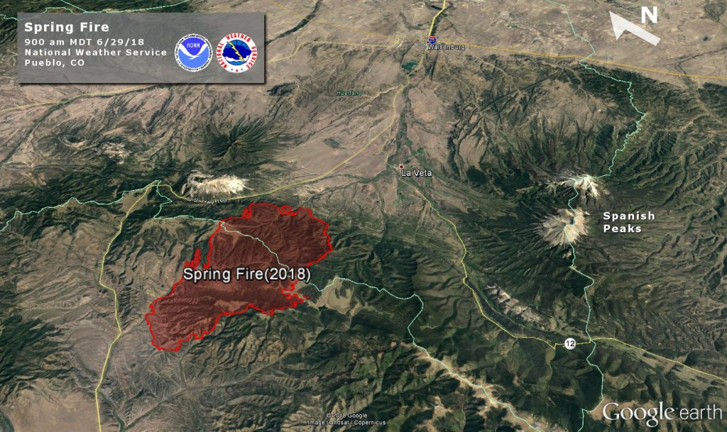 The perimeter of the Spring Fire burning in Costilla County. This image was released at 12 p.m., Friday, June 29, 2018.