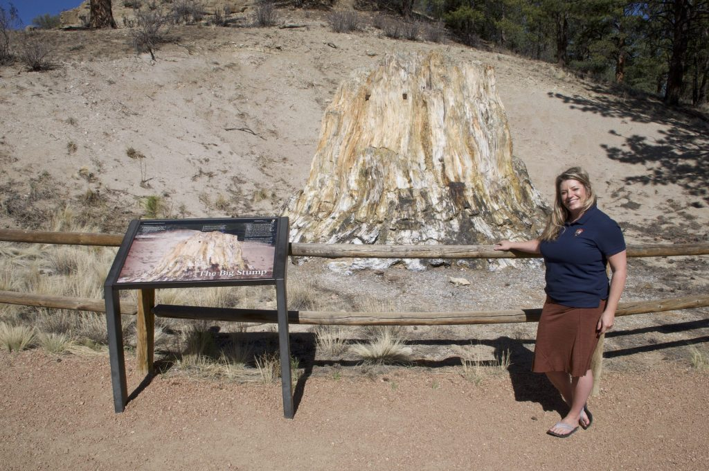 Interpretive ranger, Whitney Masten, with 'The Big Stump' at Florissant Fossil Beds National Monument
