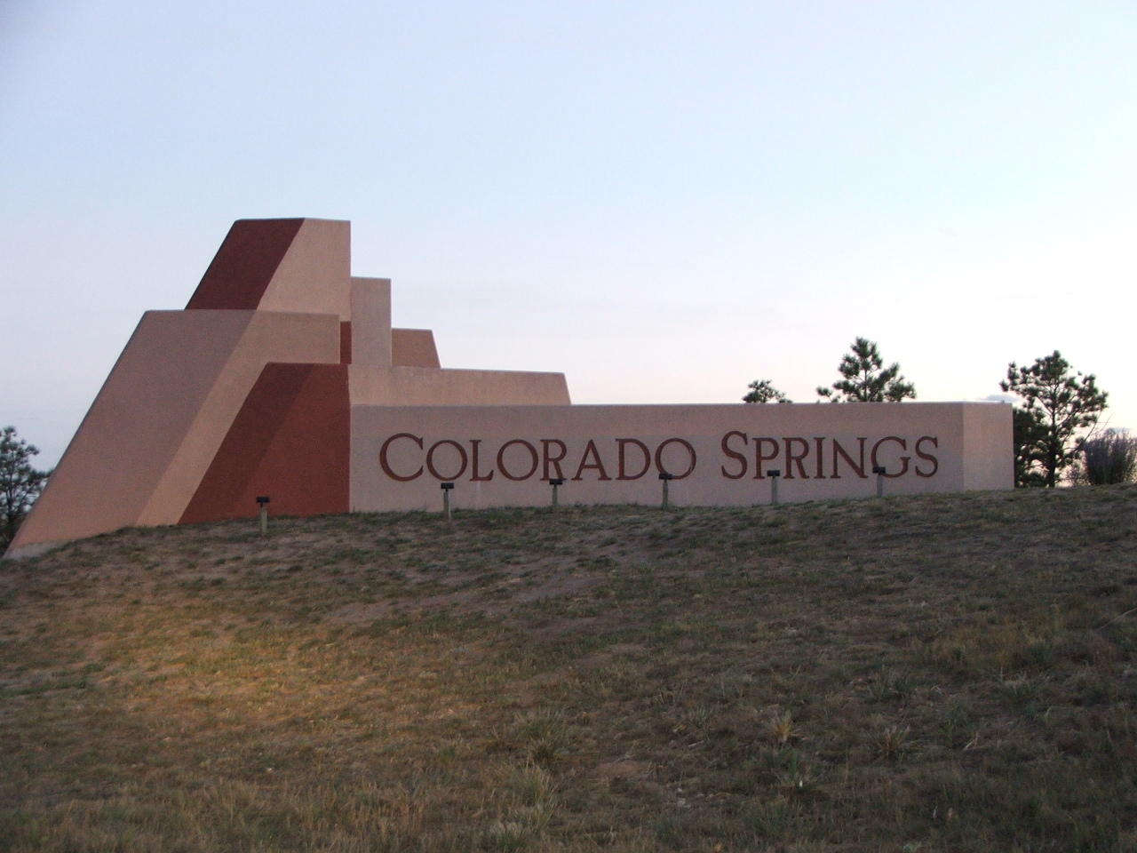 The Colorado Springs welcome sign just south of the N Gate Blvd exit on I-25 in Colorado Springs. File photo.