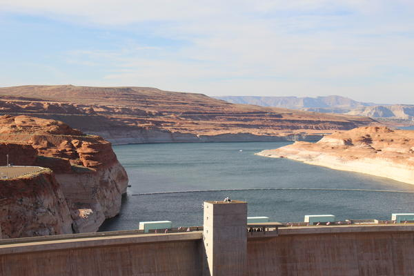 Glen Canyon Dam impounds the Colorado River in northern Arizona and forms Lake Powell, the country's second largest reservoir.