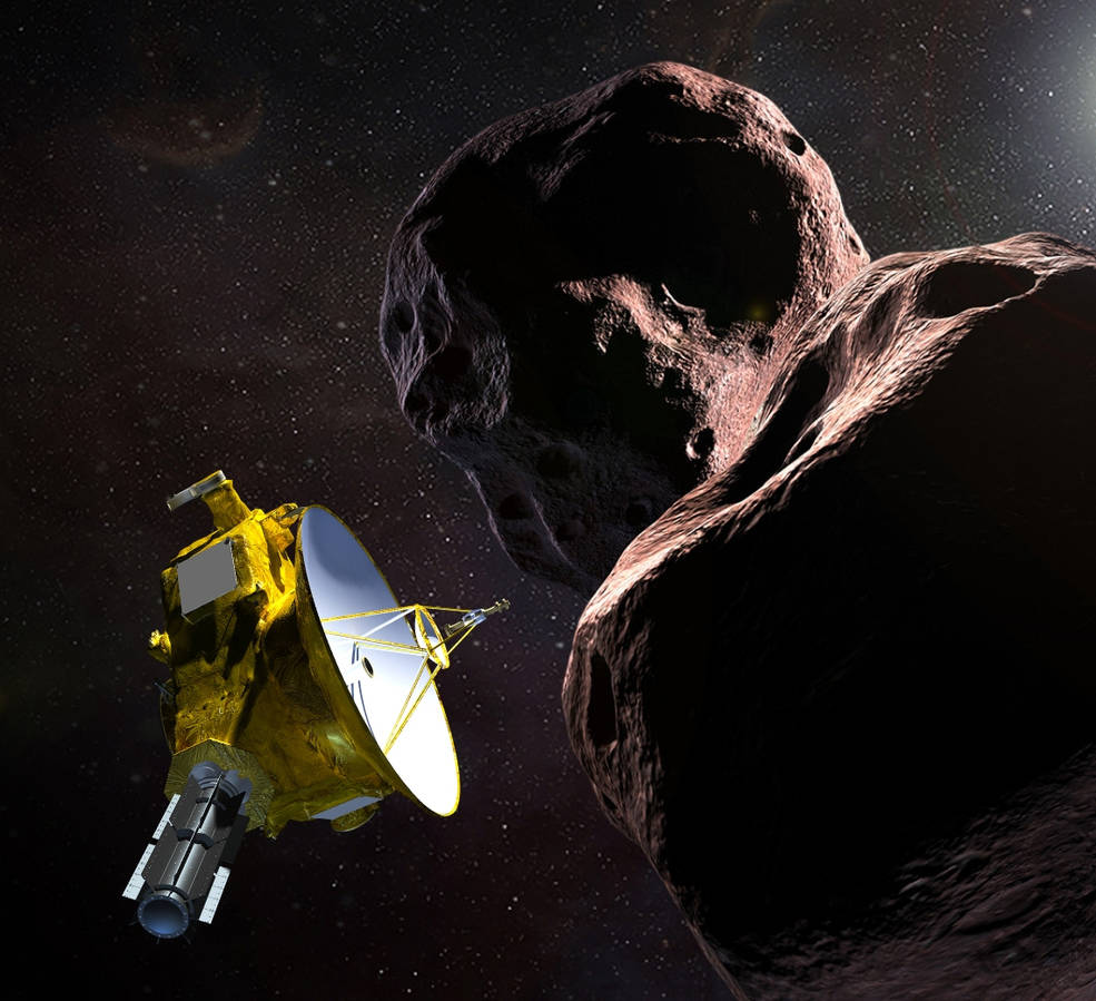 "Illustration of NASA's New Horizons spacecraft encountering 2014 MU69 – nicknamed ""Ultima Thule"" – a Kuiper Belt object that orbits one billion miles beyond Pluto. Set for New Year's 2019, New Horizons' exploration of Ultima will be the farthest space probe flyby in history."