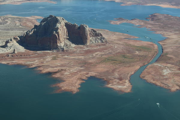 Lake Powell on the Utah, Arizona border continues to drop as snowpack declines throughout the southwest U.S. The narrow passageway shown here in September 2018 has been rendered unusable as water levels drop.